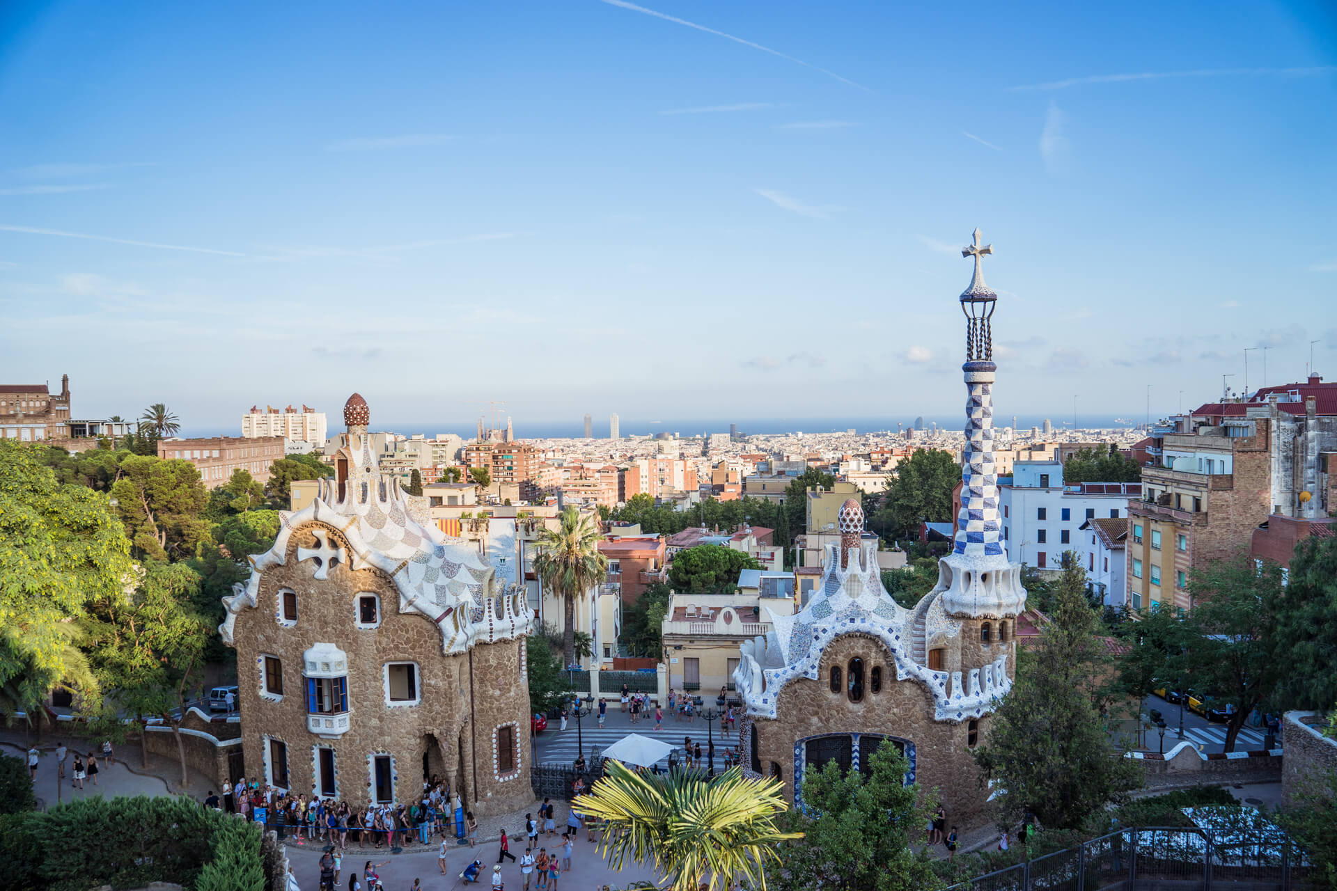 View of Güell Park in Barcelona, Spain
