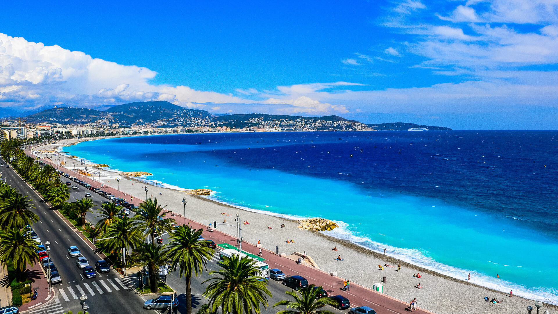 View from the beach in the city of Nice France