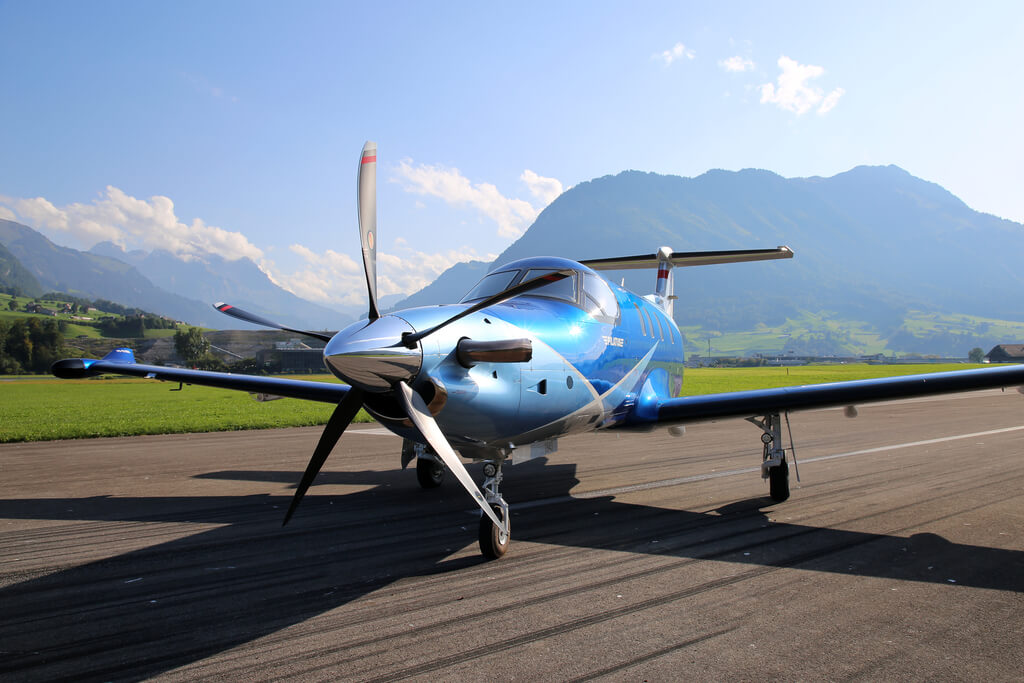 Pilatus PC-12 NGX on the runway in front of a natural landscape (Copyright: Pilatus Aircraft Ltd)