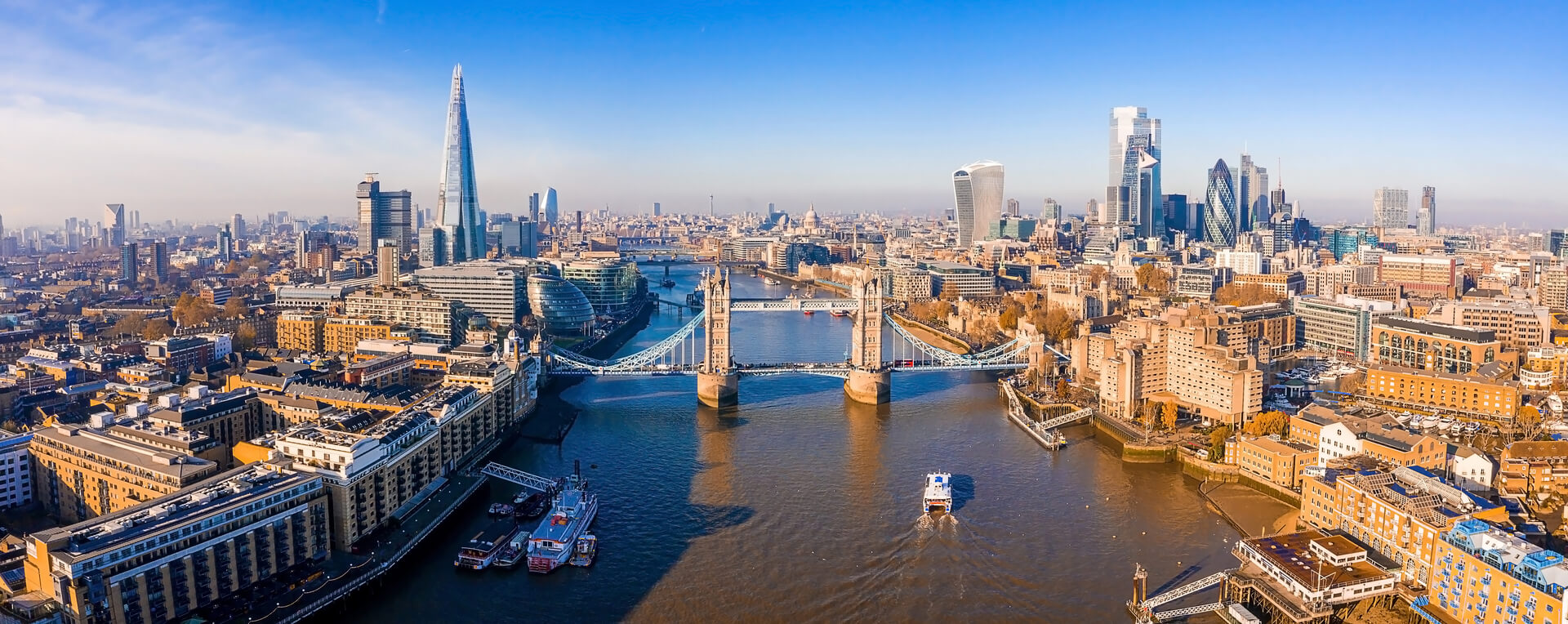 Aerial view of the Tower Bridge in London. One of London's most famous bridges and must-see landmarks in London. Beautiful panorama of London Tower Bridge.