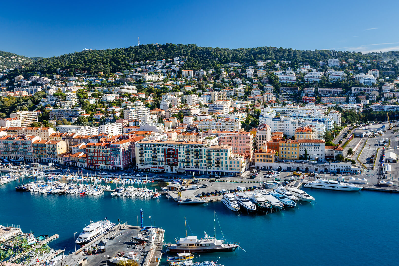 Aerial view of the port of Nice and luxury yachts, Côte d'Azur, France