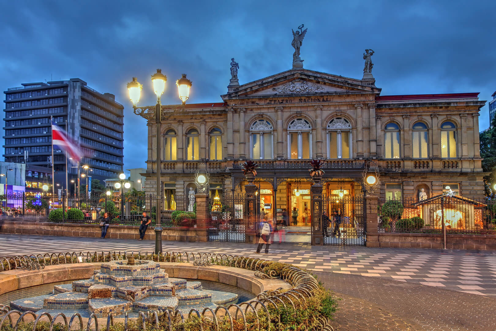 Night scene of the square in front of the famous National Theater of Costa Rica in San Jose