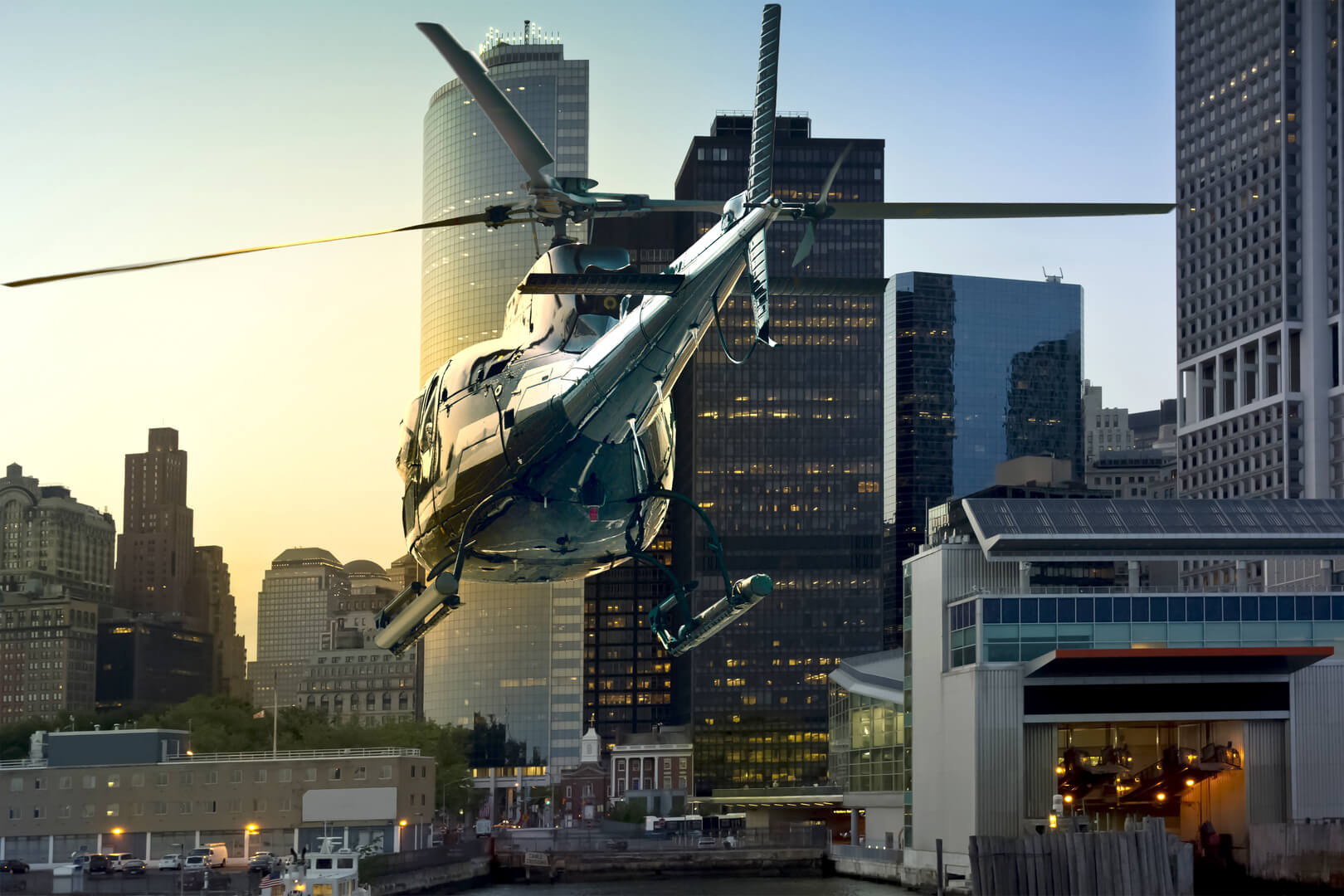 A helicopter crosses Manhattan South