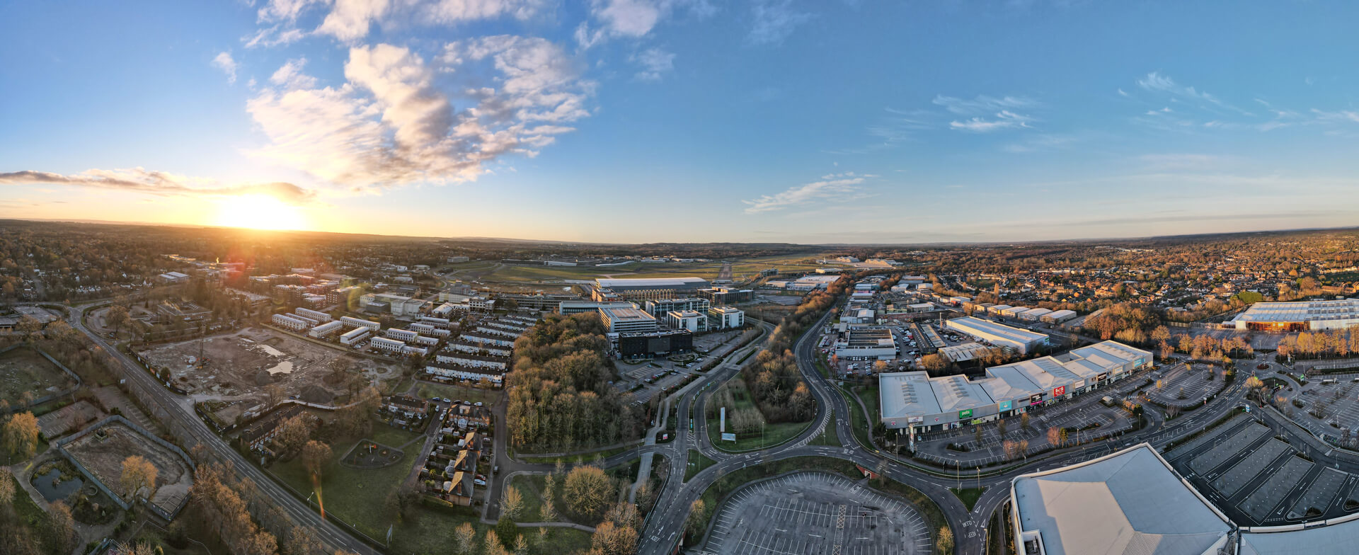 Farnborough Business Park Hampshire by drone