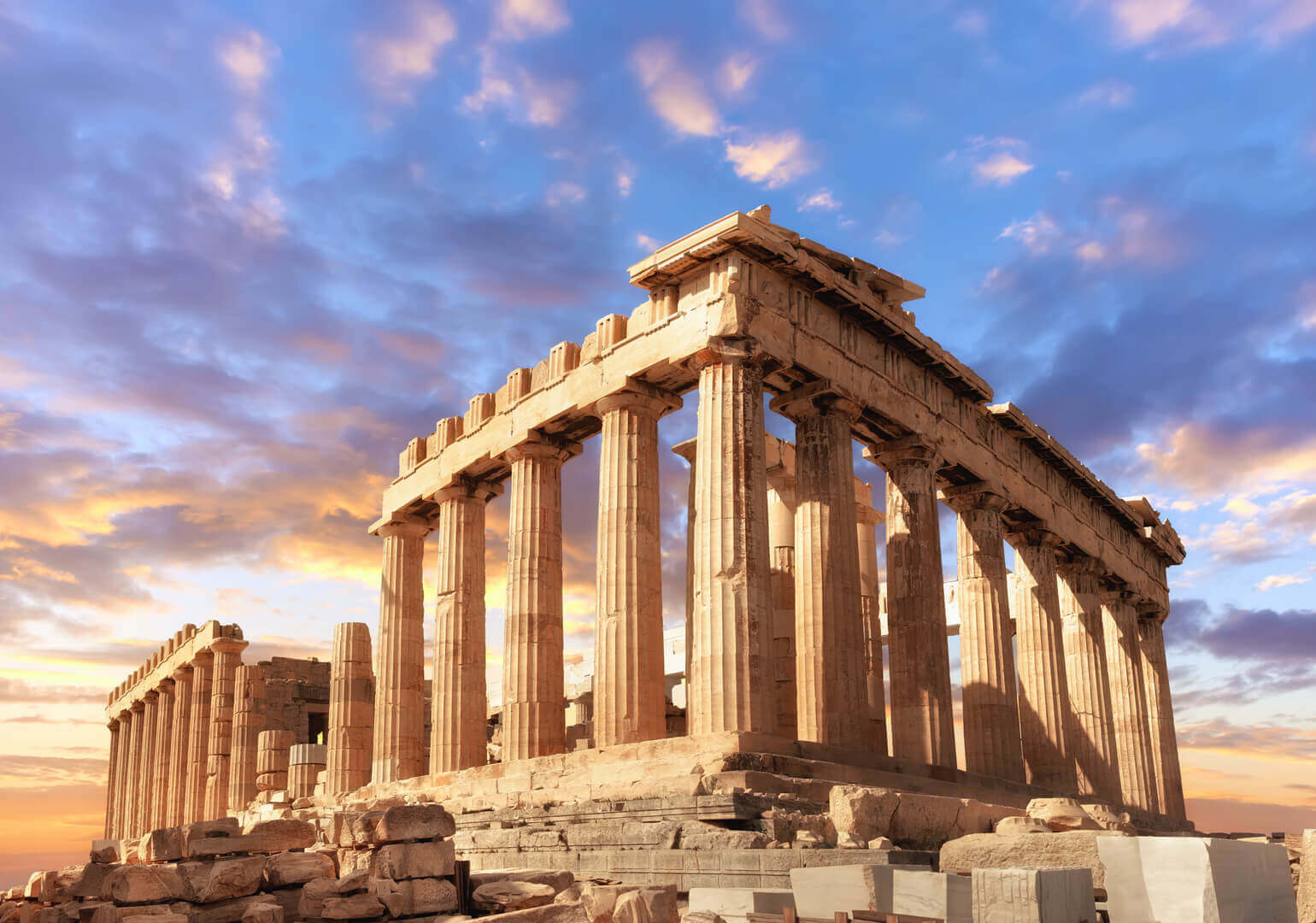 Parthenon temple on a sunset. Acropolis in Athens, Greece.