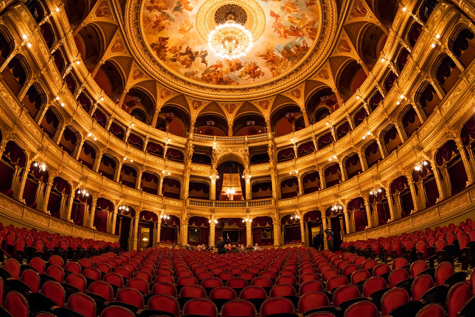 Interior of the Hungarian Royal State Opera House, considered one of the architect's masterpieces and has the third best acoustics in Europe.