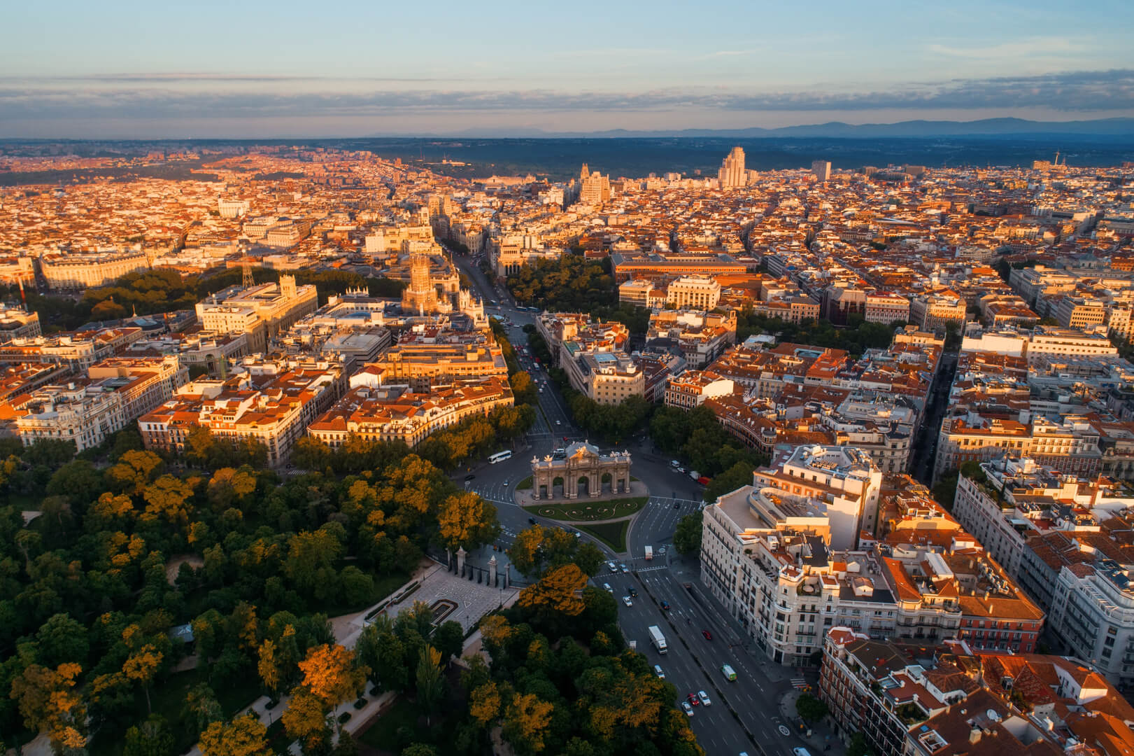 Madrid aerial view with historical buildings in Spain.