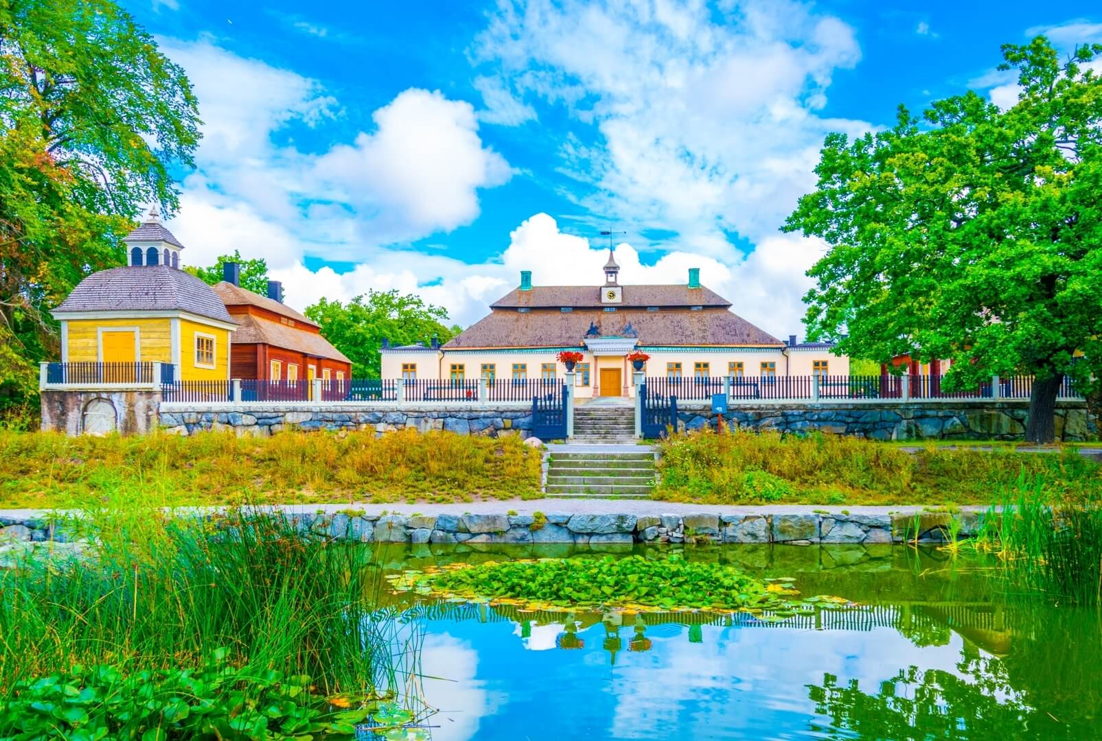 View of a mansion in the skansen museum in Stockholm.
