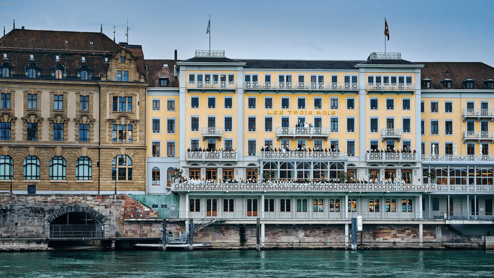 Hotel Les Trois Rois with its beautiful balcony overlooking the river Rhine