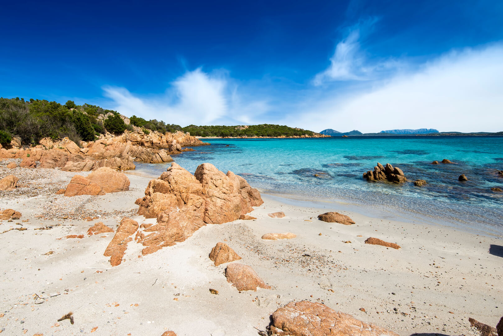 The beautiful turquoise and crystal clear sea on the beach of Petra Ruja - Costa Smeralda, Olbia / Tempio - Sardinia - Italy