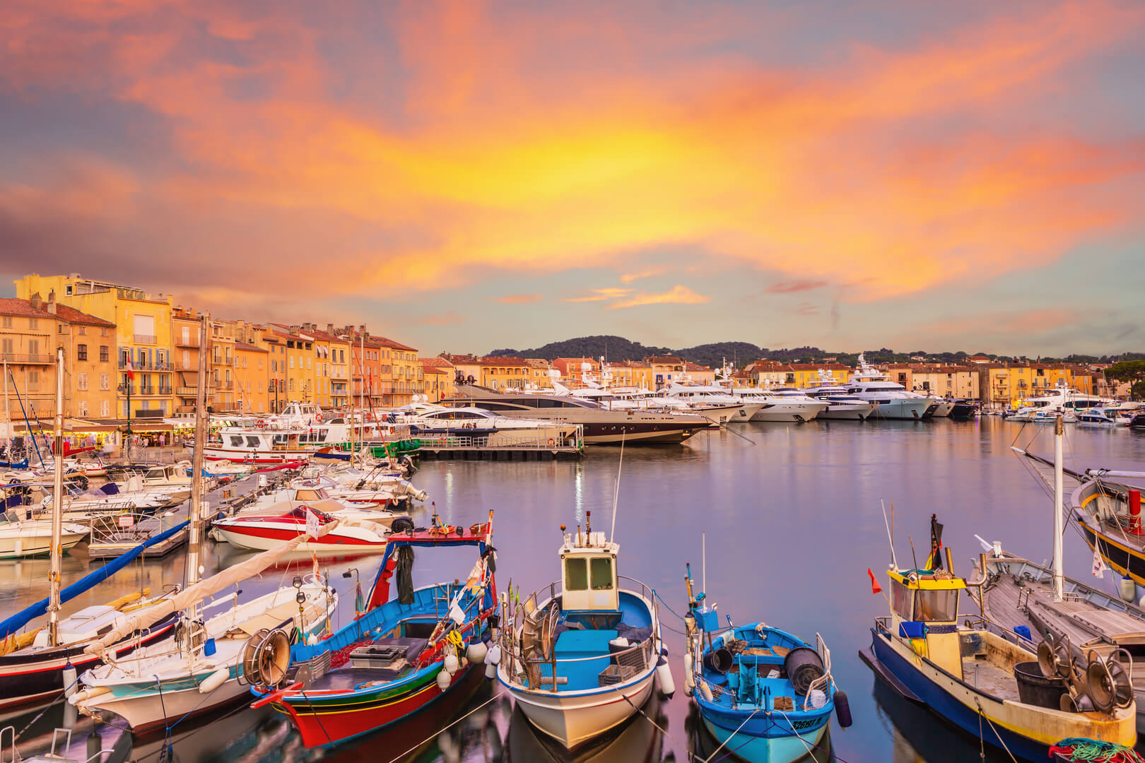 Sunset over Saint Tropez old town, France
