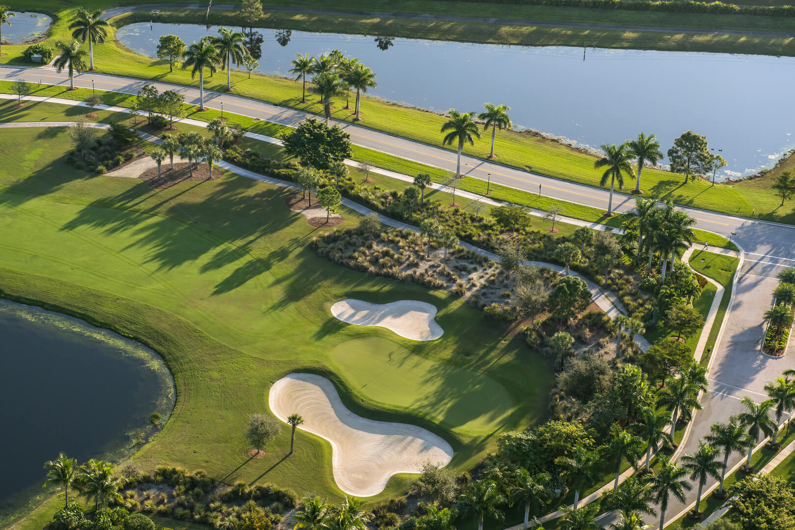 Aerial view of golf community in palm beach county florida, USA