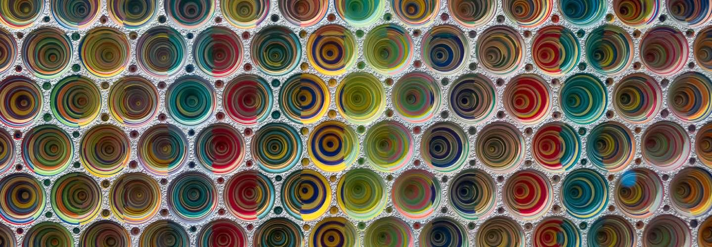 Artwork made of colourful concentric circles at the ARCO Madrid international contemporary art fair