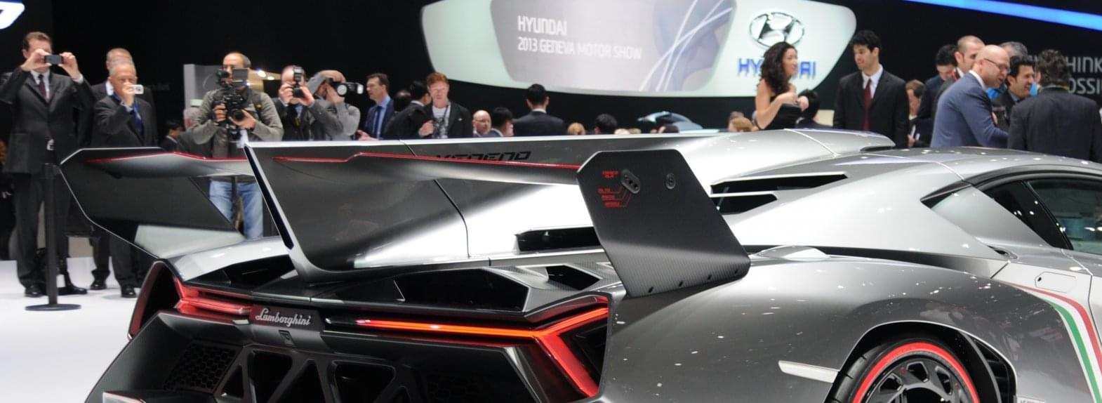 Rear view of a grey Lamborghini Veneno at the Geneva Motor Show