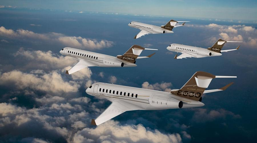 Bombardier Global Family Jets flying side by side