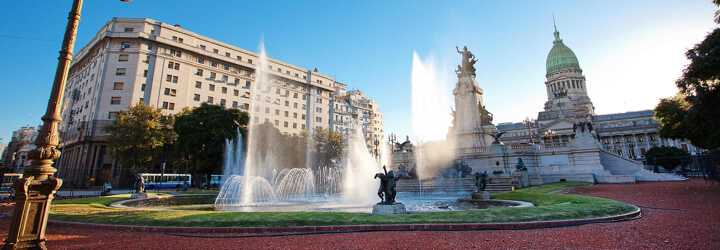 Square with pretty fountain and an administrative building at the back in Buenos Aires in Argentina