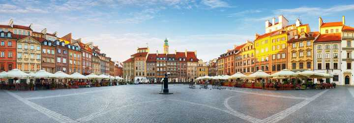 Market Square at sunset in Warsaw, Poland