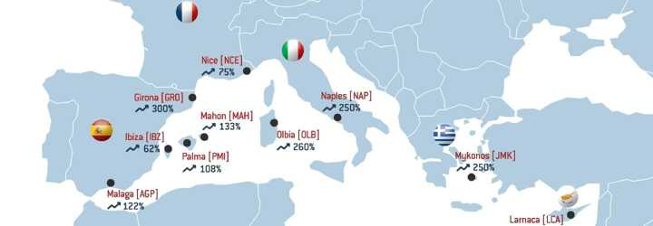 European map illustrating the top 10 Mediterranean destinations where LunaJets is seeing the highest growth in 2018