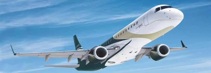 VIP AIrliner Embraer Lineage 1000 to charter for private aviation flights with LunaJets, luxury travel in spacious cabin, trans-continental
