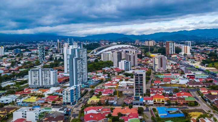 Aerial view of the city of San Jose in Costa Rica