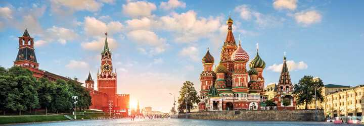 Sunny view of Saint Basils Cathedral and the Nabatnaya and Tsar and Spasskaya towers in Moscow !