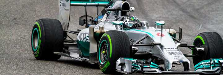 A grey and green Mercedes AMG Petronas racing car at the Monaco F1 Grand Prix