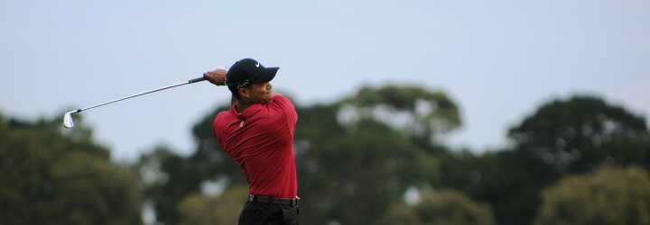 Tiger Woods swinging at the US Open Golf Championship at Chambers bay in Washington